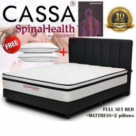 Cassa FULL SET with BED Goodnite [10 Year Warranty] 10 inch Grandeur Spinahealth Posture Spring Queen/King Mattress Only (Free 2 Unit Polyester Pillow)