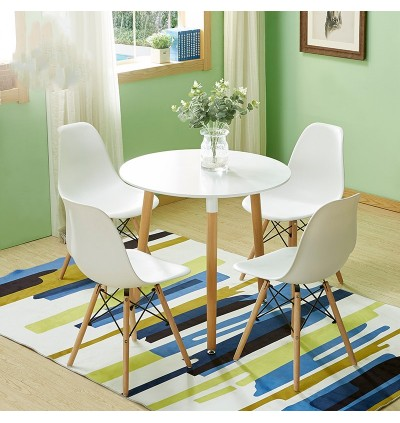 Cassa Eames Stylish Discussion / Meeting / Dining / Hi-Tea [BIGGER SIZE - 80 cm] Round Table together with 4 unit Eames White Seat Natural Wood Legs Chair