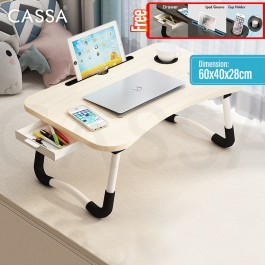 Cassa Toyo Foldable Bedside Sofa Side Table Anti-slip Bed Laptop Table Notebook Tablet Table Portable Computer Desk Meja Lipat (Option : With Drawer/Without Drawer)